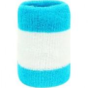 Neska Moda Unisex Pack Of 1 Blue And White Striped Cotton Wrist Band WB46