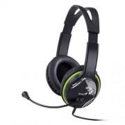 Fejhallgató, mikrofon, hangerőszabályzóval, GENIUS HS-400A, zöld (GEFH400A)