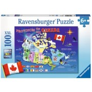 Puzzle Harta Canadei, 100 Piese Ravensburger