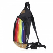 Rainbow Color Cross Body Bag mochila para las mujeres - Negro