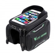 WEST BIKING Bicycle Front Frame Bag Cycling Waterproof Screen Touch Top Tube Phone Bag - Green