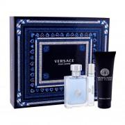 Versace Pour Homme set cadou apa de toaleta 100 ml + apa de toaleta 10 ml + gel de dus 150 ml pentru bărbați