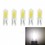 LED G9 5W COB dimmable blanco frio LED bombillas (AC 220V / 5 PCS)