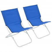 vidaXL Сгъваеми плажни столове, 2 бр, сини
