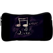 Snoogg Music is my lifePoly Canvas Student Pen Pencil Case Coin Purse Utility Pouch Cosmetic Makeup Bag
