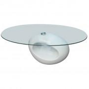 vidaXL Soffbord oval bas med unik design högglans vit