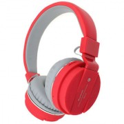 Mettle SH12 Bluetooth headphone with SD Card Slot/ with music and calling controls Headset with Mic - Red