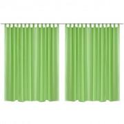 vidaXL 2 db áttetsző lenvászon függöny 290 x 175 cm zöld
