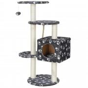[en.casa] Rascador para gatos (40 x 40 x 113 cm aprox)(gris con huellas blancas) varios niveles - sisal - con juegos y sitio para acurrucarse