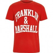 River Island Boys Franklin and Marshall Red print T-shirt - Size 6 - 7
