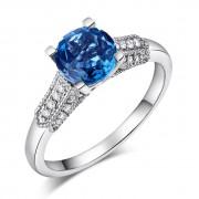 Inel Borealy Aur Alb 18 K 1.5 Ct Topaz Diamante Naturale London