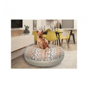 Bessie + Barnie Signature Extra Plush Faux Fur Animal Print Bagel Dog & Cat Bed, Snow Leopard/Blondie, Medium