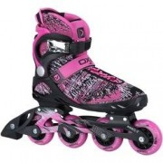 Oxer Patins Oxer Flynit Dream - In Line - Fitness - ABEC 7 - Adulto - PRETO/ROSA