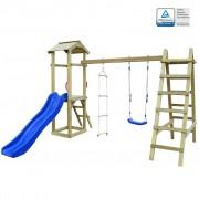 vidaXL Детско съоръжение с пързалка и люлка, 286x237x218 см, FSC дърво