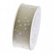 Szalag fehér csillagokkal 40mmx20m arany