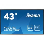iiyama 43' 1920x1080, AMVA3 panel, Fan-less, Speakers, Multiple In-/Outputs (VGA, DVI-D, HDMI and more), 350 cd/m², 3000:1 Static Contrast, 8 ms, Landscape mode, Media Play USB Port, LAN Control (RJ45