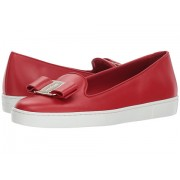 Salvatore Ferragamo Novello Leather Bow Slip-On Sneakers Lipstick