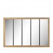 Oppy - Miroir verrière en métal et bois 140x90 cm - Couleur - Bois clair / noir