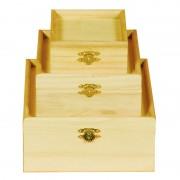 Set trei cutii lemn patrate art & hobby