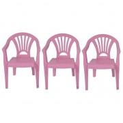 Merkloos 3x Plastic kinderstoelen roze 37 x 31 x 51 cm