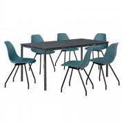 [en.casa]® Комплект маса за хранене с 6 стола Liverpool, 160 x 80 cm, Тъмносив/Тюркоазен