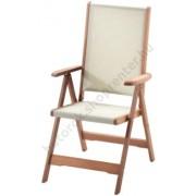 Karfás kerti szék fából, 5 pozíciós (textil ülőrésszel)
