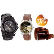 Jack Klein Combo of Round Dial Black Strap Stylish Analog Wrist Watches With Brown Belt
