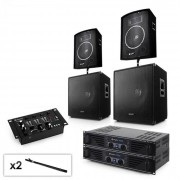 "Set audio 2.2 Mixer 2x Ampli 2x 15"" Subwoofer 2x 10"" Casse"