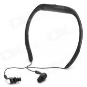 T-20 deporte impermeable recargable en el oido auricular Reproductor de MP3 con radio FM - negro (8 GB)