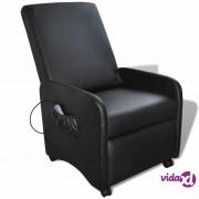 vidaXL Električna Masažna Fotelja od Umjetne Kože Podesiva Crna