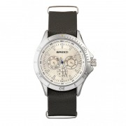 Breed Dixon Leather-Band Watch w/Day/Date - Silver/Dark Brown BRD7301