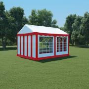 vidaXL Pavilion de grădină, roșu și alb, 3 x 4 m, PVC