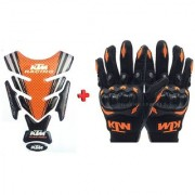 Combo For KTM Inspired Tank Pad And Racing Gloves For DUKE/RC-125/200/390....