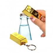 Merkloos Flesopener goudstaaf sleutelhangertje