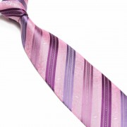 """Pink/Purple Paisley Pattern Striped Microfibre Tie"""