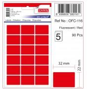 Etichete autoadezive color, 22 x 32 mm, 180 buc/set, Tanex - rosu fluorescent