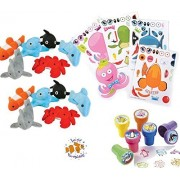 Sea Creature Party Favors for 24 - Under the Sea Stampers (24), Make-a-Fish Stickers (24), Plush Mini Ocean Animals (24) and a Birthday Sticker (Total 73 Pieces)