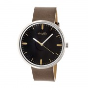 Simplify The 4500 Leather-Band Watch - Silver/Black/Umber SIM4502