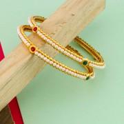 Gold Plated Brass Pearl Kundan Bangles - Set of 2 Buy Golden Pearl Kundan Bangles online