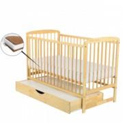 Patut din lemn Babyneeds Ola 120x60 cm cu sertar Natur + Saltea 10 cm