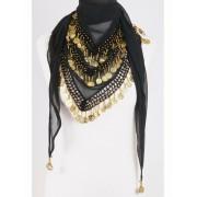 Muntjes buikdans sjaal zwart/goud