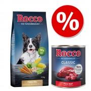 10kg Rocco pehely-mix+6x400g Rocco Classic marha & lazac nedvestáp kutyáknak