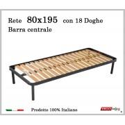 ErgoRelax Rete per materasso a 18 doghe in faggio Con Barra Centrale 80x195 cm. 100% Made in Italy