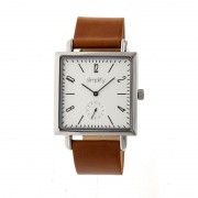 Simplify The 5000 Leather-Band Watch - Silver/Silver/Brown SIM5003