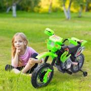 Homcom Mota Elétrica Infantil com Bateria com Rodinhas de Apoio - Cor: verde - Material PP