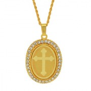 MissMister Gold Plated CZ American Diamond Cross Crucifix Embossed Oval Pendant Locket Chain Necklace Church Christian Jewellery for Men Women Boys Girls