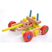 3 In 1 Bright Colourful Wooden Nut Assembly Mechanix Building Blocks of 45pcs Educational Learning Toy