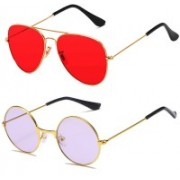 SRPM Aviator, Round Sunglasses(Red, Violet)