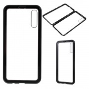 All-wrapped Magnetic Installation Metal Frame + Glass Protective Phone Case for Samsung Galaxy A50 - Black