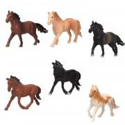 Merkloos 6x Plastic paardjes speelgoed figuren voor kinderen